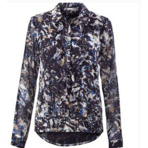 CAbi Starry Night Ruffle Blouse Button Front Style
